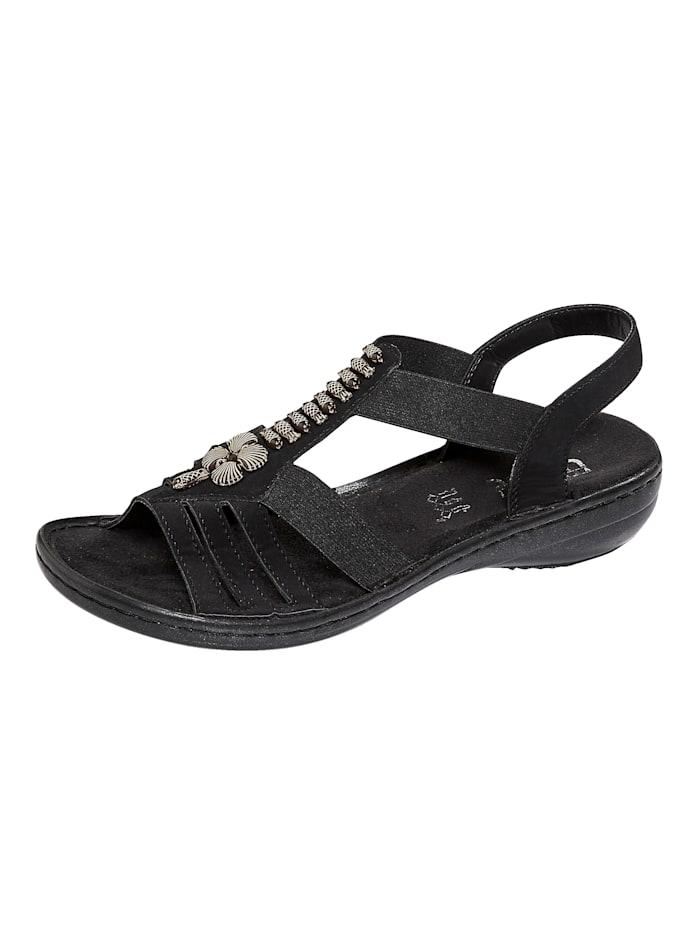 Rieker Sandaaltje met modieuze applicatie, Zwart