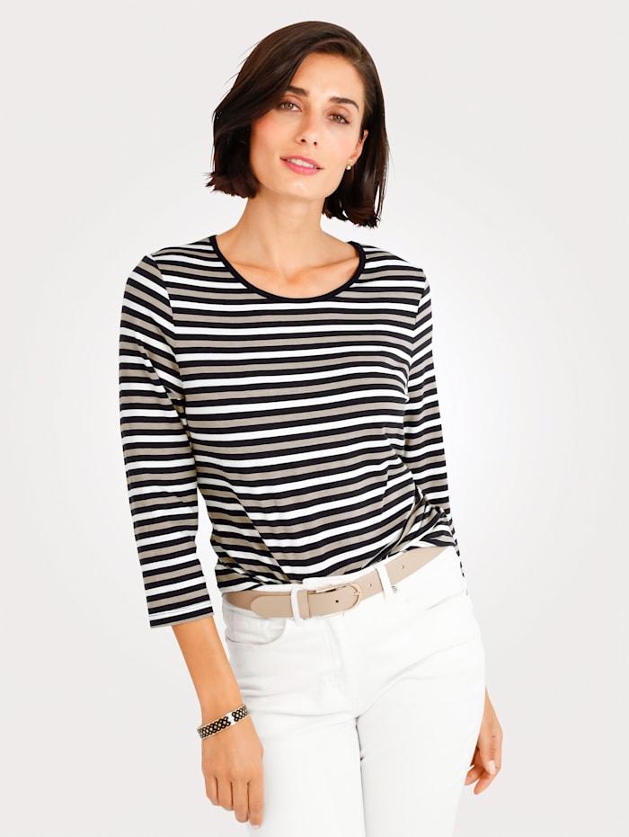 MONA Shirt mit Ringel, Schwarz/Weiß/Beige