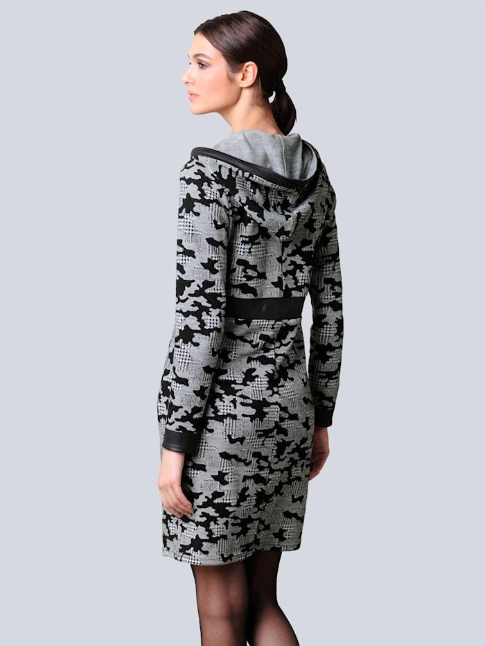 Jerseykleid allover im abstrakten Hahnentrittmuster