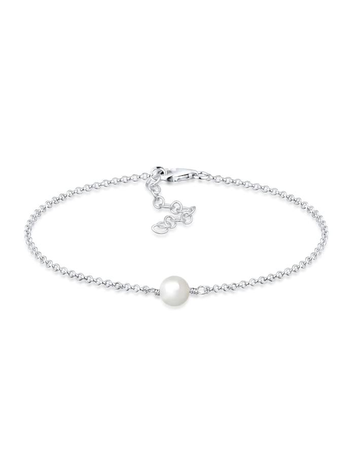 Elli Armband Muschelkernperle 925 Sterling Silber, Weiß