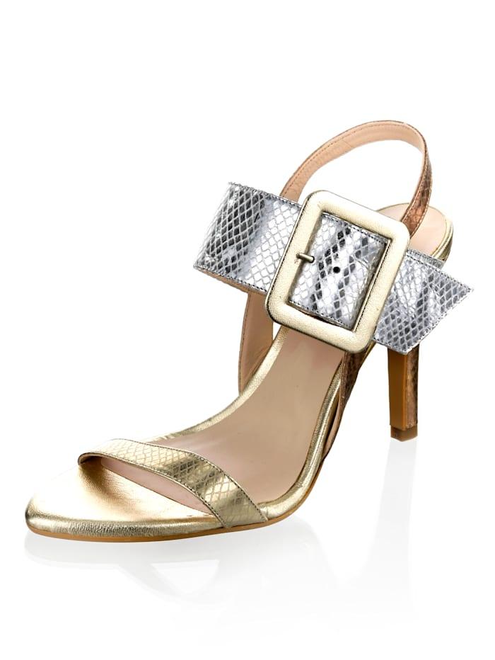 Alba Moda Sandaaltje met metallic reptieldessin, Zilverkleur/Goudkleur/Roze