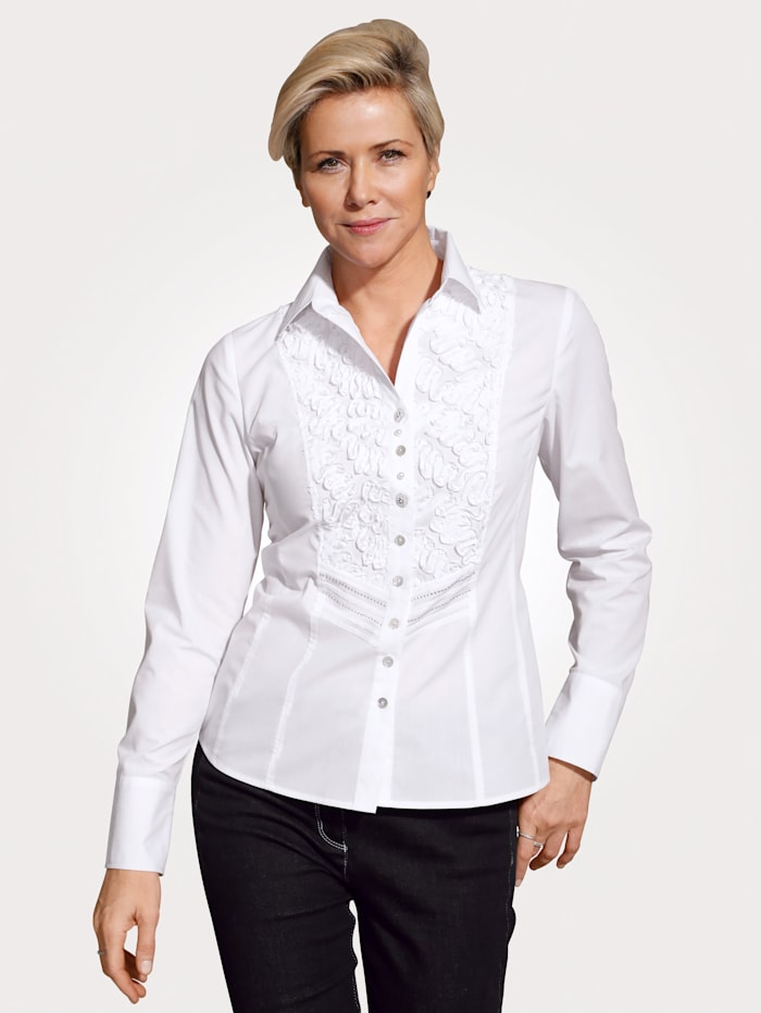 Just White Bluse mit dekorativen Applikationen, Weiß