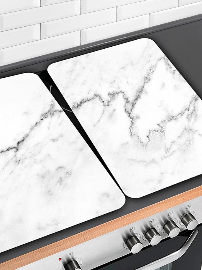 2er-Set Herdabdeckplatten 'Marmor-Optik', weiß
