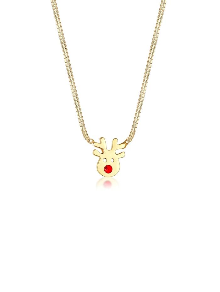 Elli Halskette Kinder Rentier Kristalle 925Er Silber, Gold