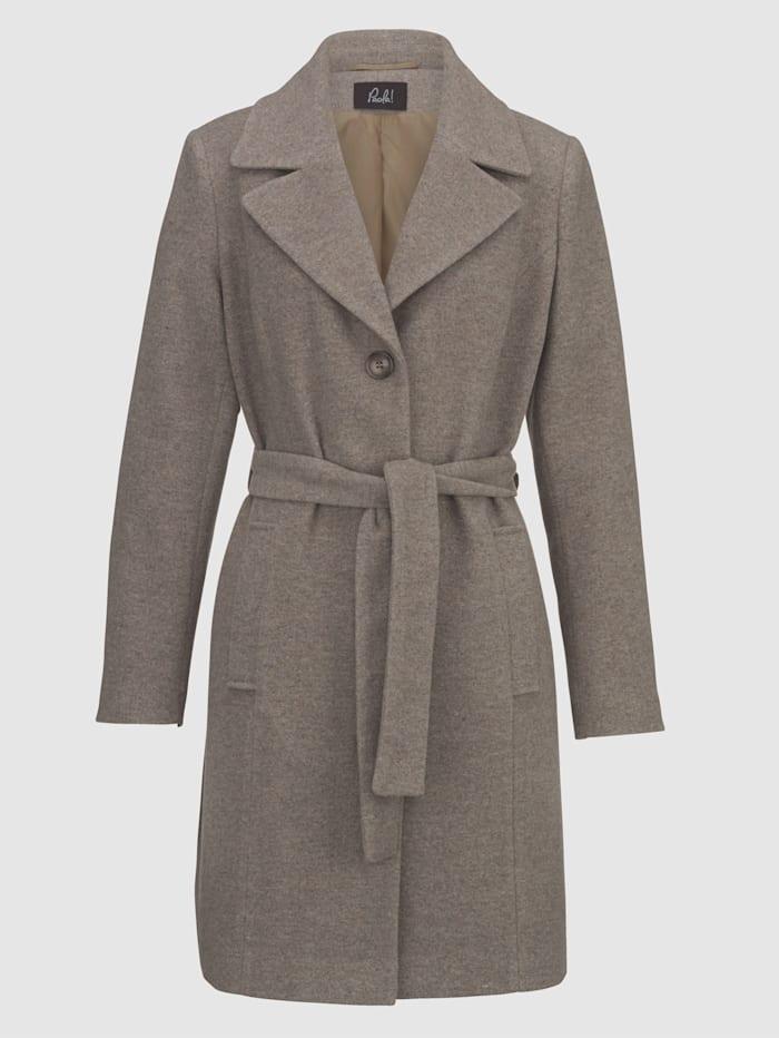 Vlnený kabát s opaskom