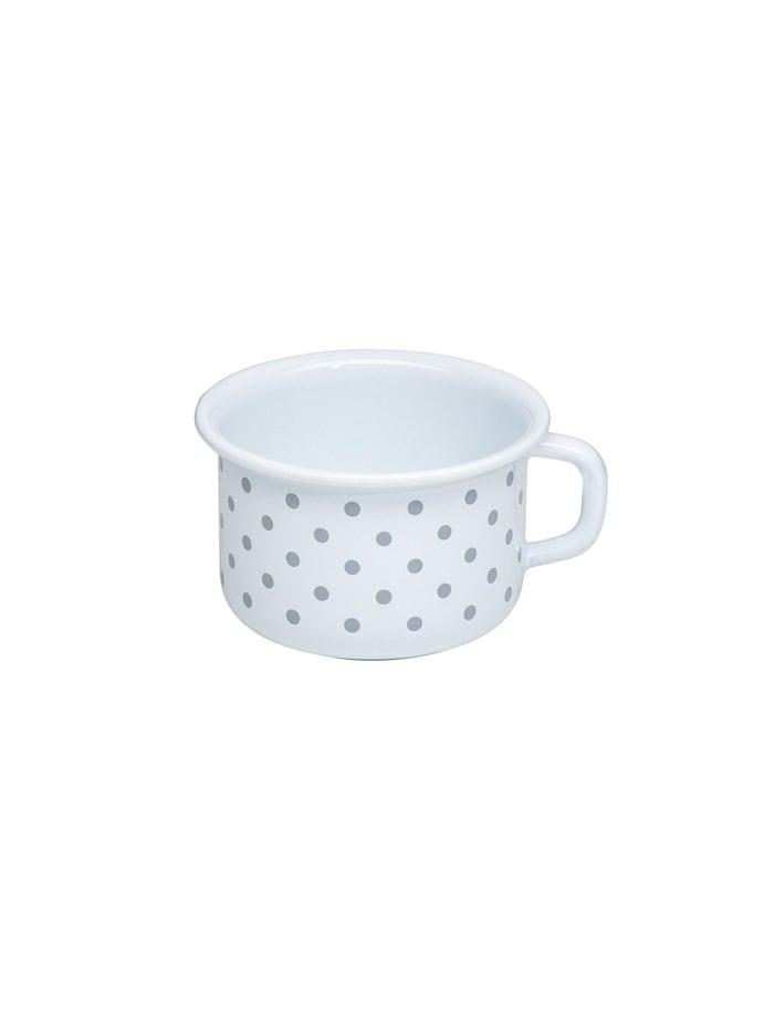 Riess Kaffeeschale Emaille Pünktchen Grau, Grau