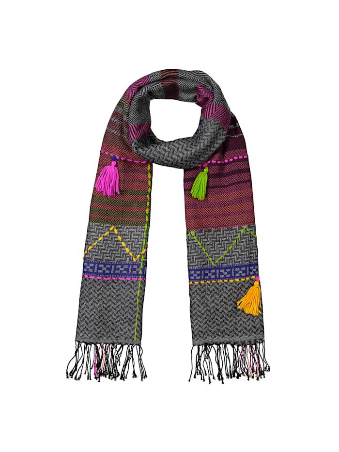 Codello Art School Folklore-Schal mit Tassels, grey