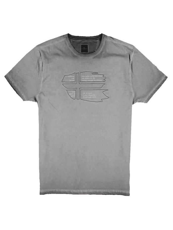 Engbers T-Shirt Rundhals mit Stickerei, Anthrazit