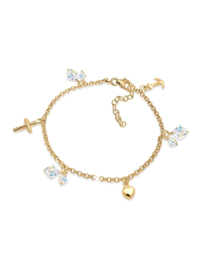 Elli Armband Kreuz Herz Anker Kristalle 925 Silber, Gold