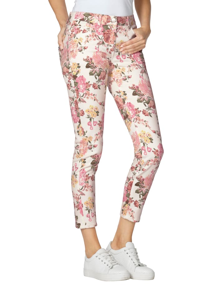 AMY VERMONT Jeans mit floralem Muster allover, Off-white/Pink/Rosé