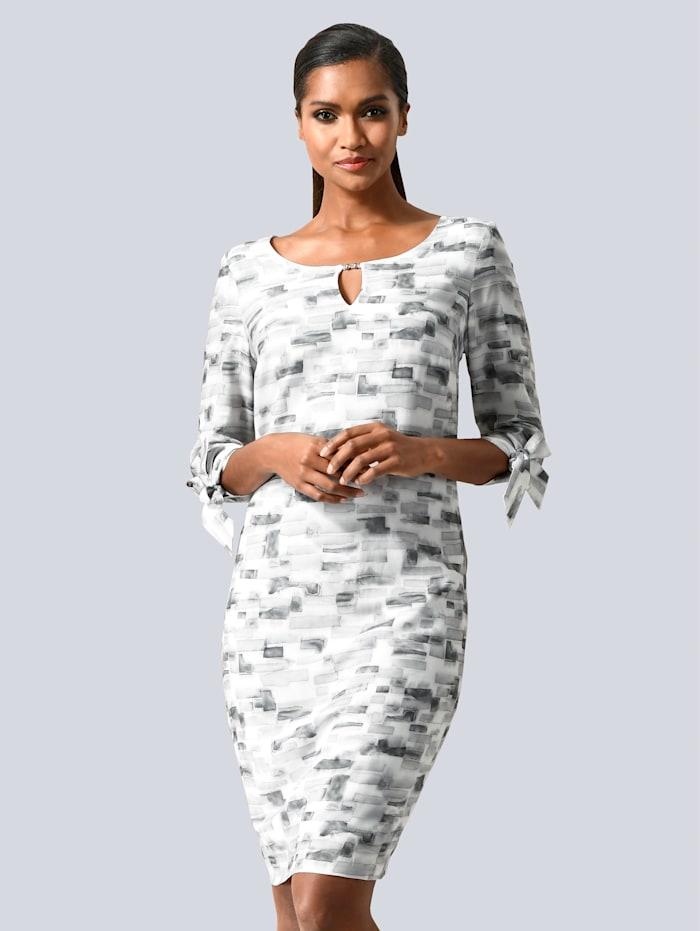 Alba Moda Kleid mit grafischem Druck allover, Grau/Weiß