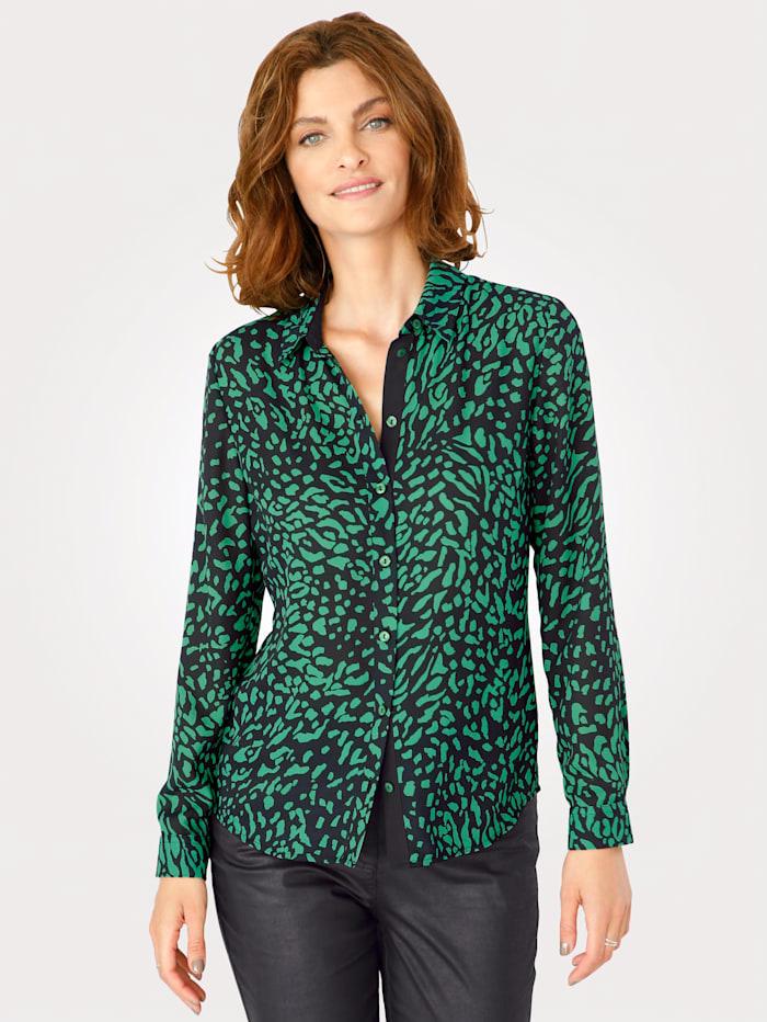 MONA Blouse met animalprint, Groen/Zwart