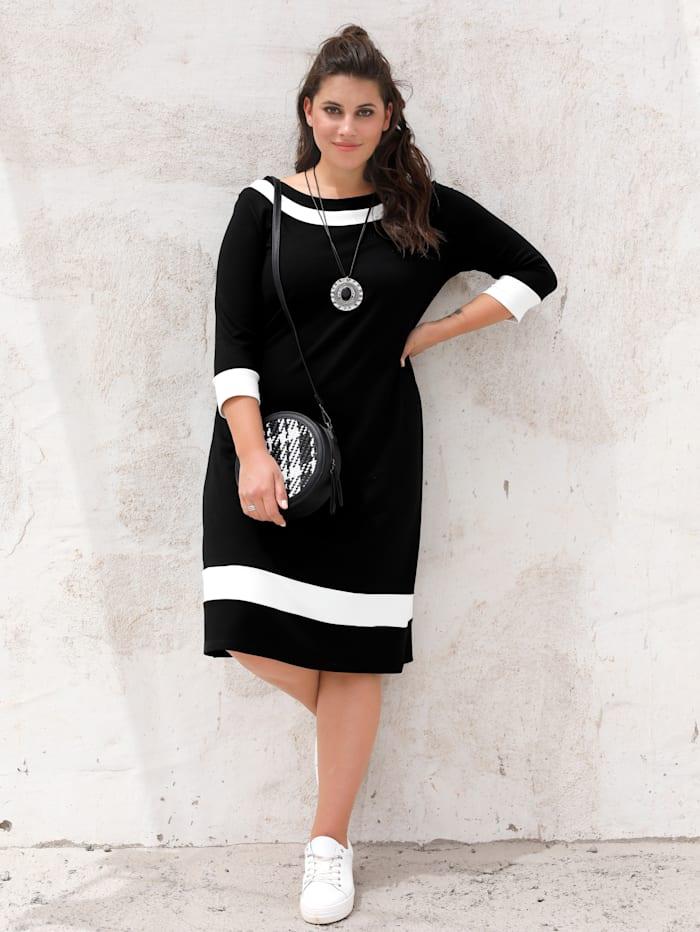 MIAMODA Jersey jurk met vrouwelijke halslijn, Zwart/Crème
