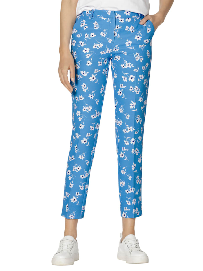 AMY VERMONT Hose mit floralem Muster allover, Hellblau/Weiß
