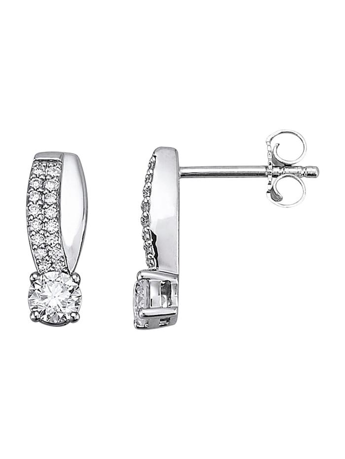 Diemer Platin Ohrringe mit Brillanten, Silberfarben