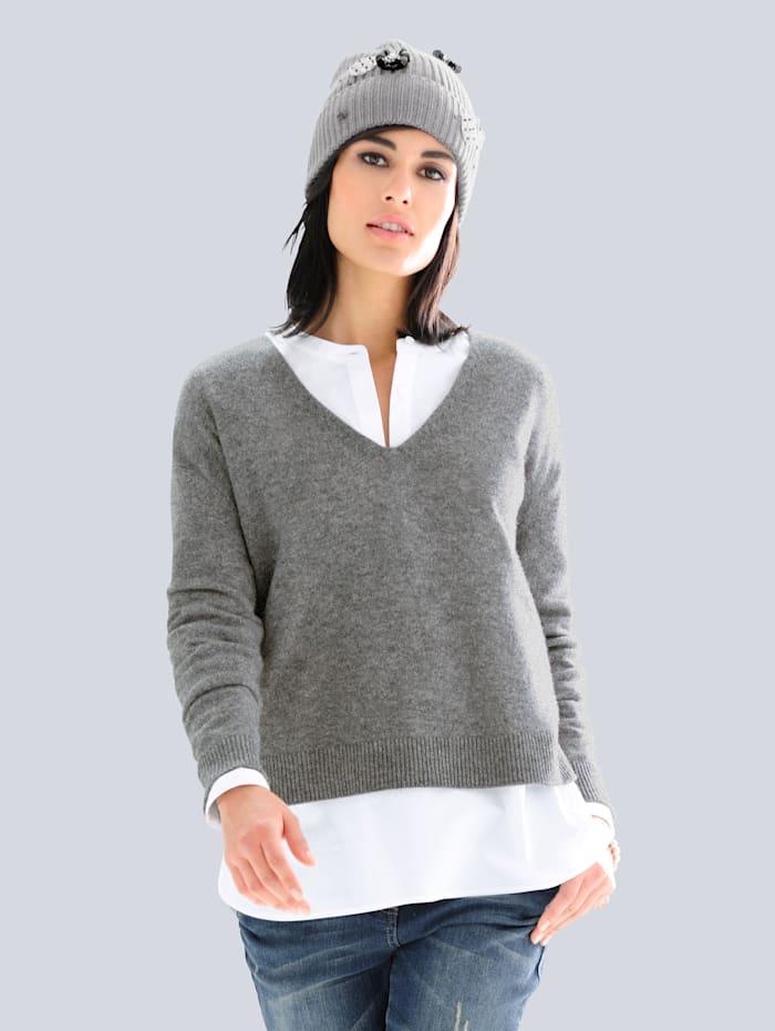 Alba Moda Pullover aus hochwertigem Kaschmir, Grau