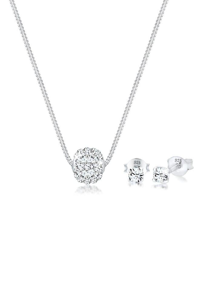 Elli Schmuckset Collier Kugel Swarovski® Kristalle 925 Silber, Silber