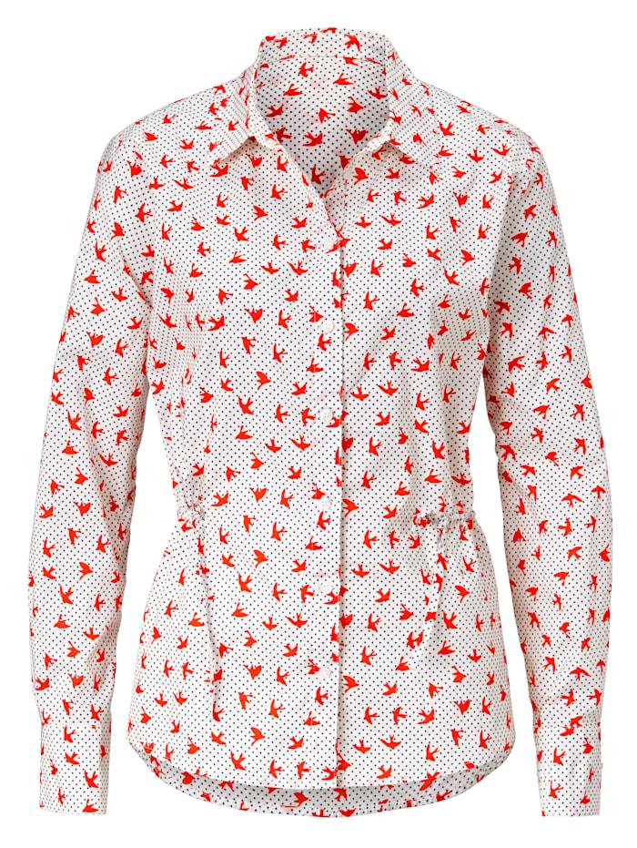 REKEN MAAR Hemdbluse mit Schwalben-Print, Off-white