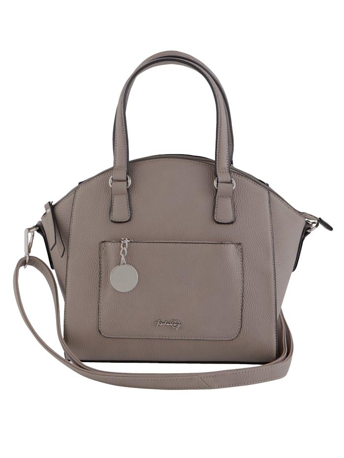 Taschenherz Handtas met sierhanger, taupe