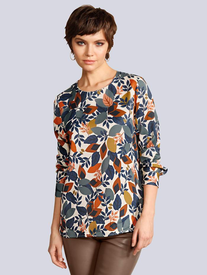 Seidensticker Schwarze Rose Blusenshirt im farbharmonischen Blätterdessin, Creme-Weiß