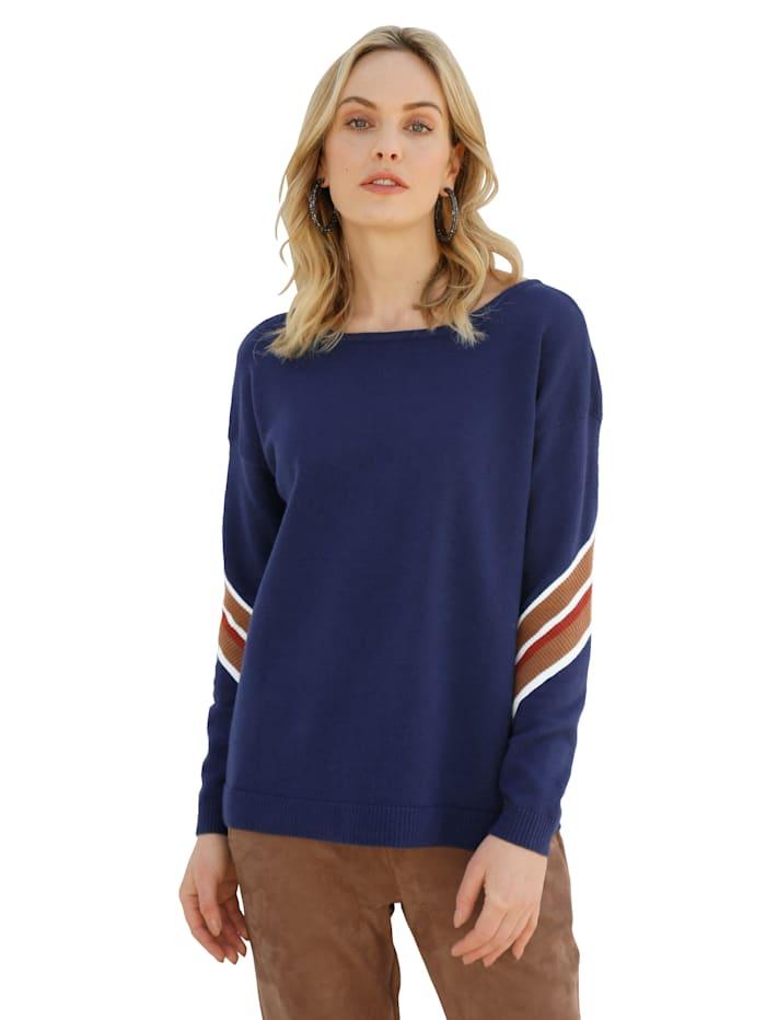 AMY VERMONT Pullover mit Streifen am Ärmel, Marineblau/Cognac/Rot