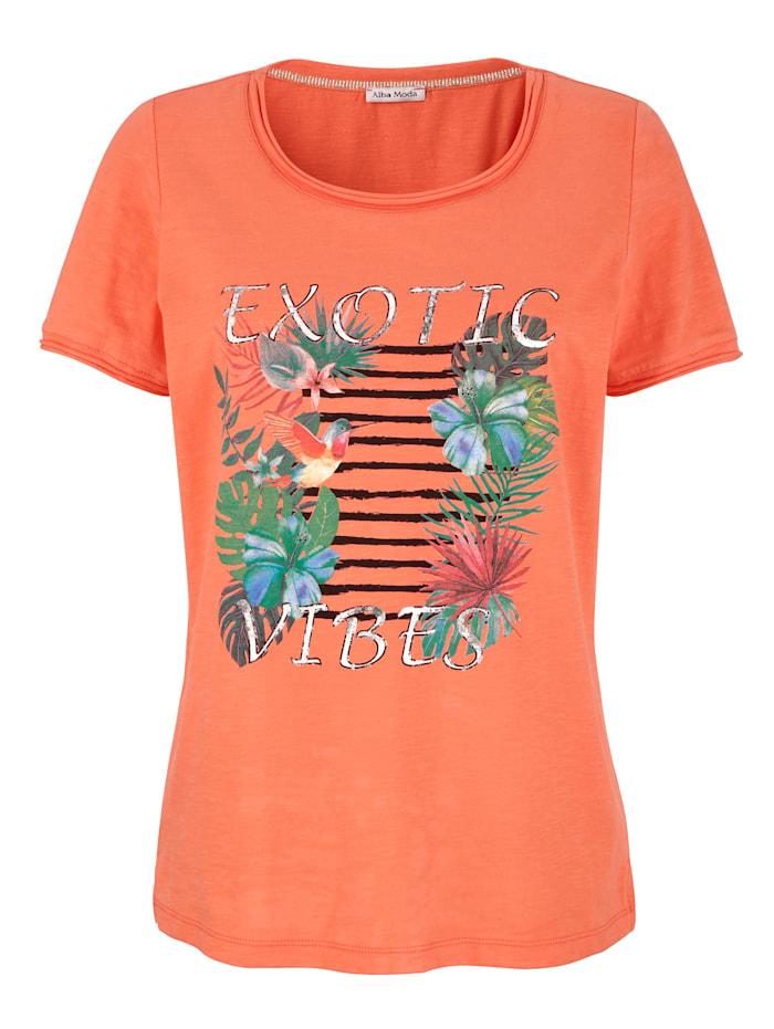 Alba Moda Strandshirt mit Motiv, Koralle