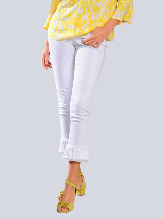 Alba Moda Jeans mit Volants am Saum, Weiß
