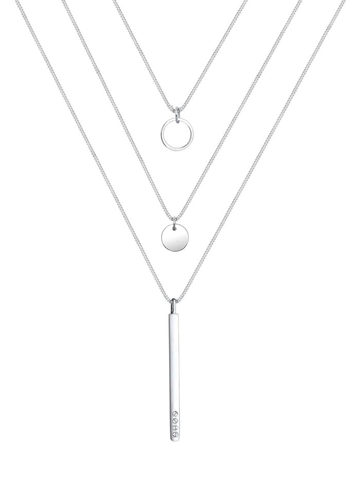 Halskette Geo Kreis Layer Kristalle 925 Silber