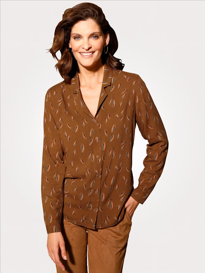 MONA Bluse mit Blütenblätterdruck, Rost