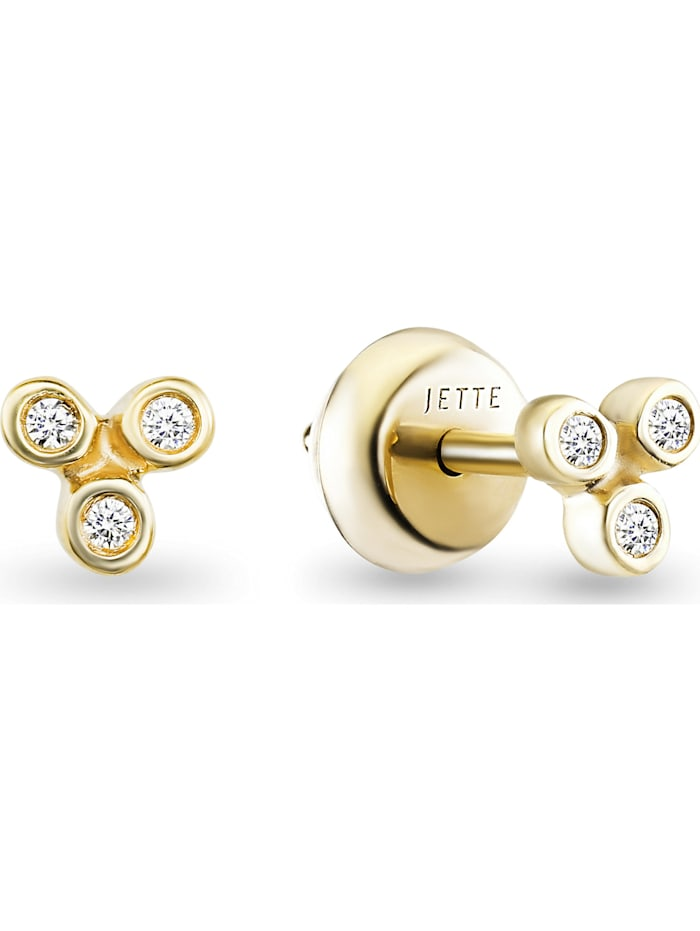Jette JETTE Damen-Ohrstecker 925er Silber 6 Zirkonia, gold