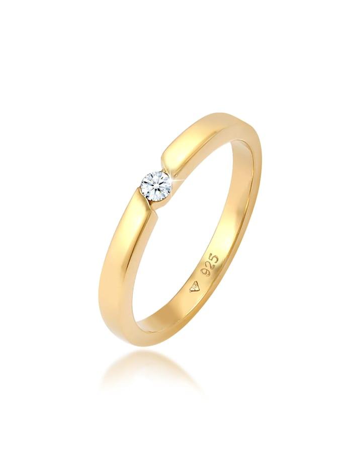 DIAMORE Ring Verlobungsring Diamant (0.06 Ct.) 925 Silber, Gold