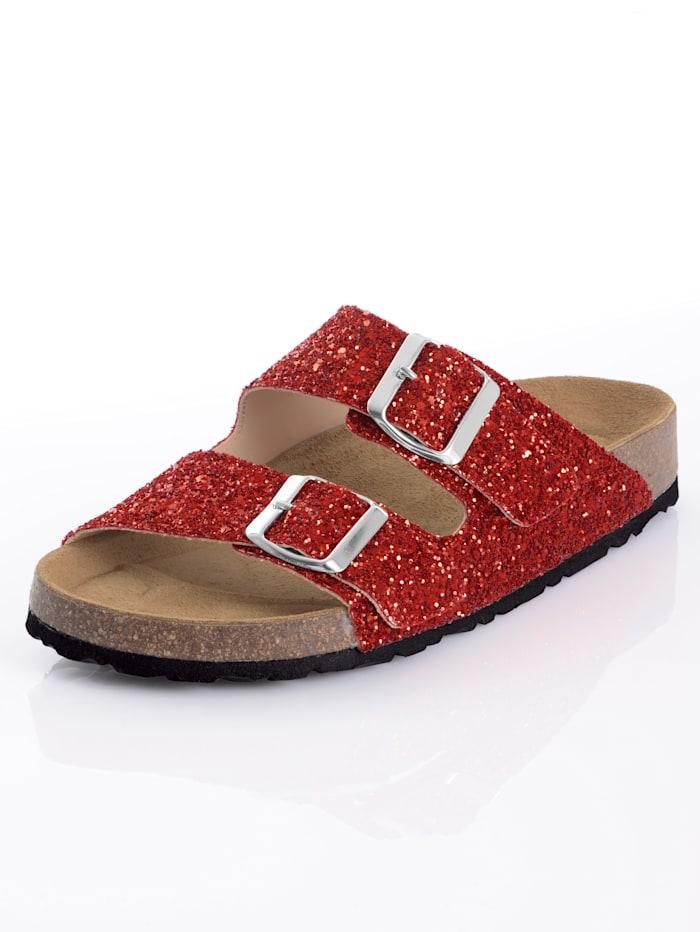Pantolette im Glitter-Look