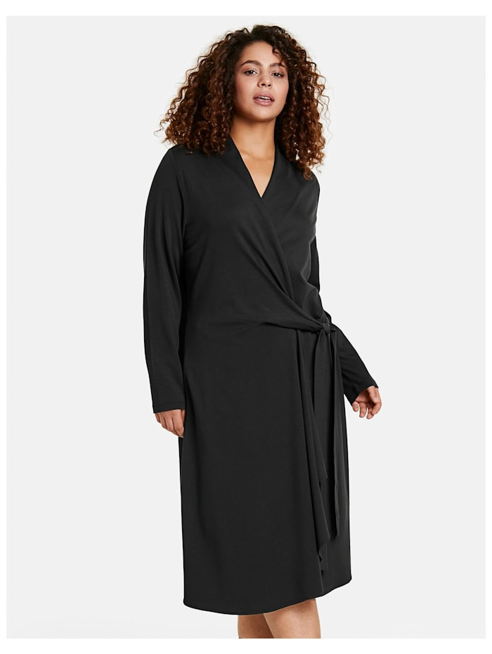 Samoon Kleid mit Wickel-Optik, Black