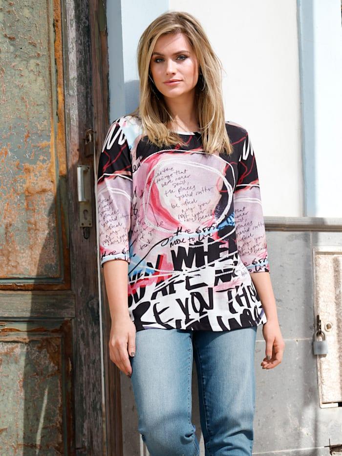 Sara Lindholm Shirt met strassteentjes, Zwart/Roze