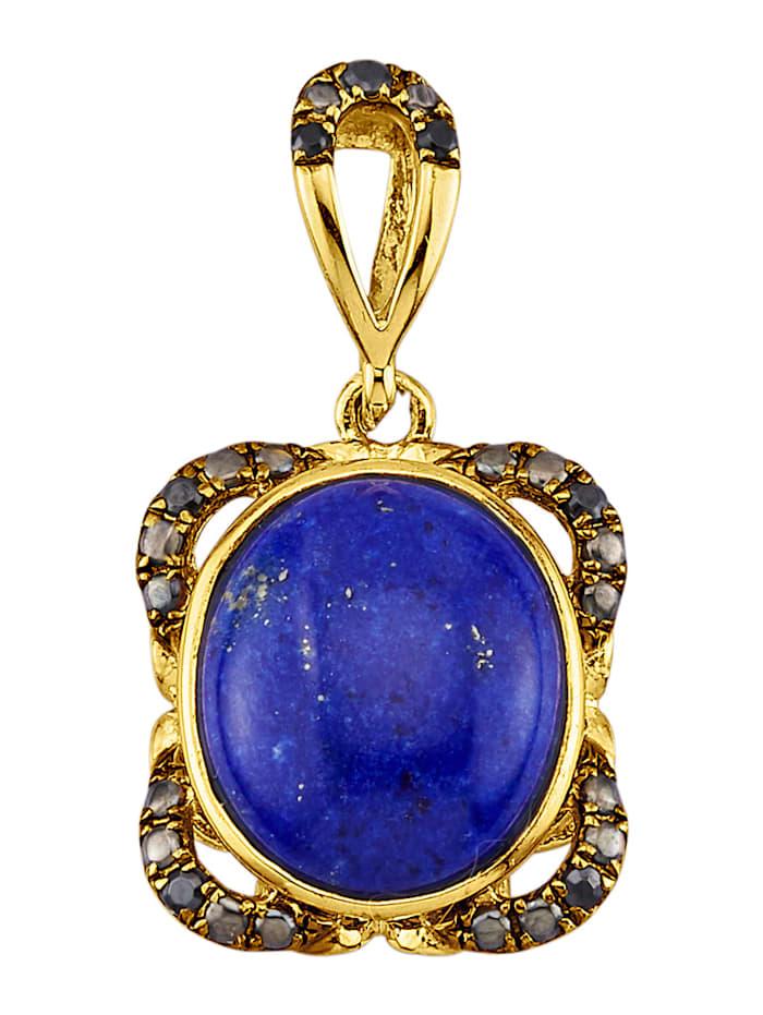Hanger met lapis lazuli en synth. zirkonia, Blauw