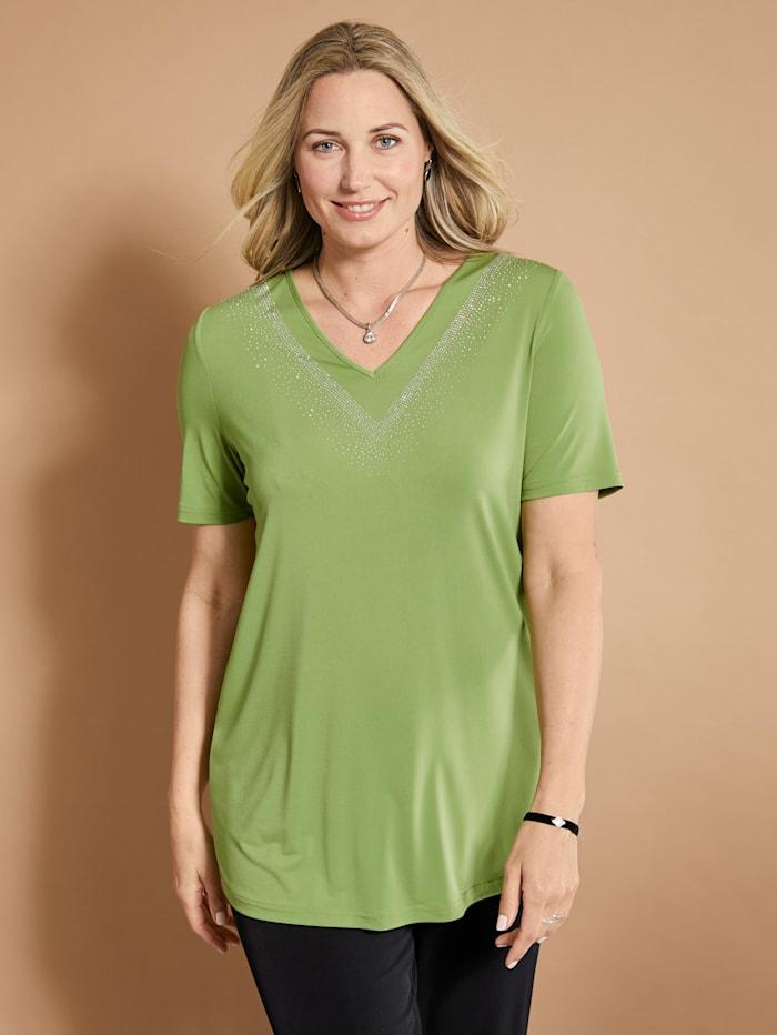 MIAMODA T-shirt slinky à pierres fantaisie scintillantes, Citron vert
