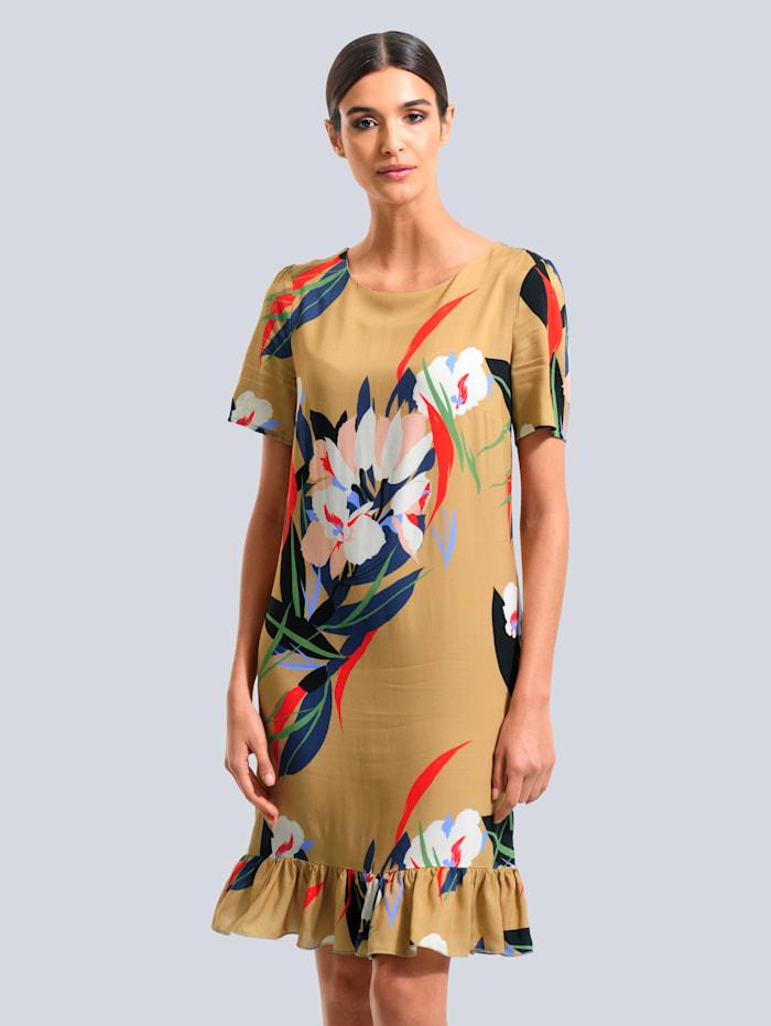 Alba Moda Kleid mit Floralem-Dessin, Cognac/Marineblau/Rot/Grün