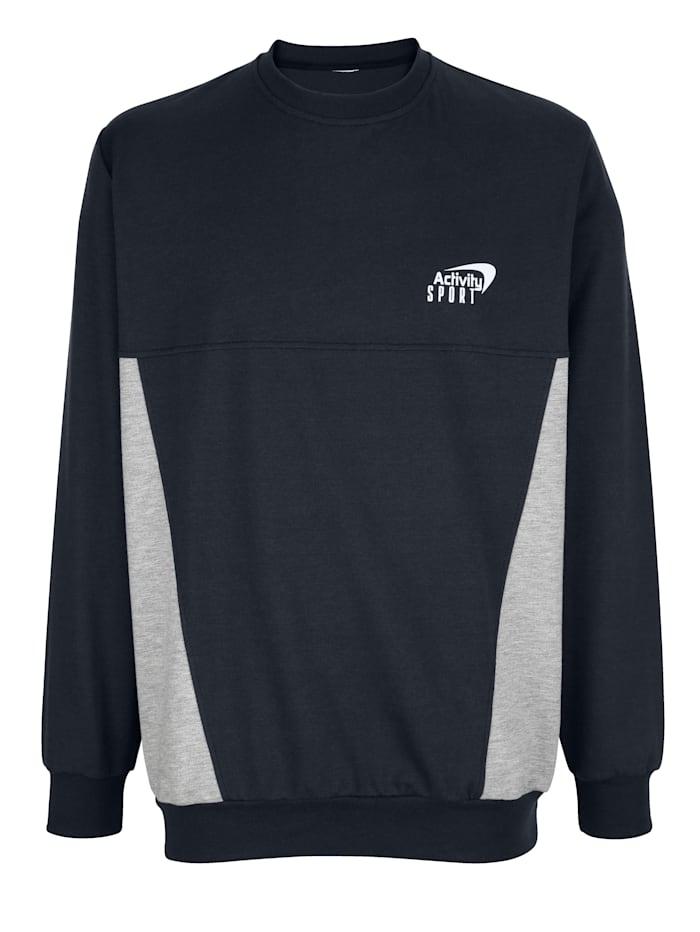G Gregory Sweatshirt met effen contrastinzetten, Marine/Grijs