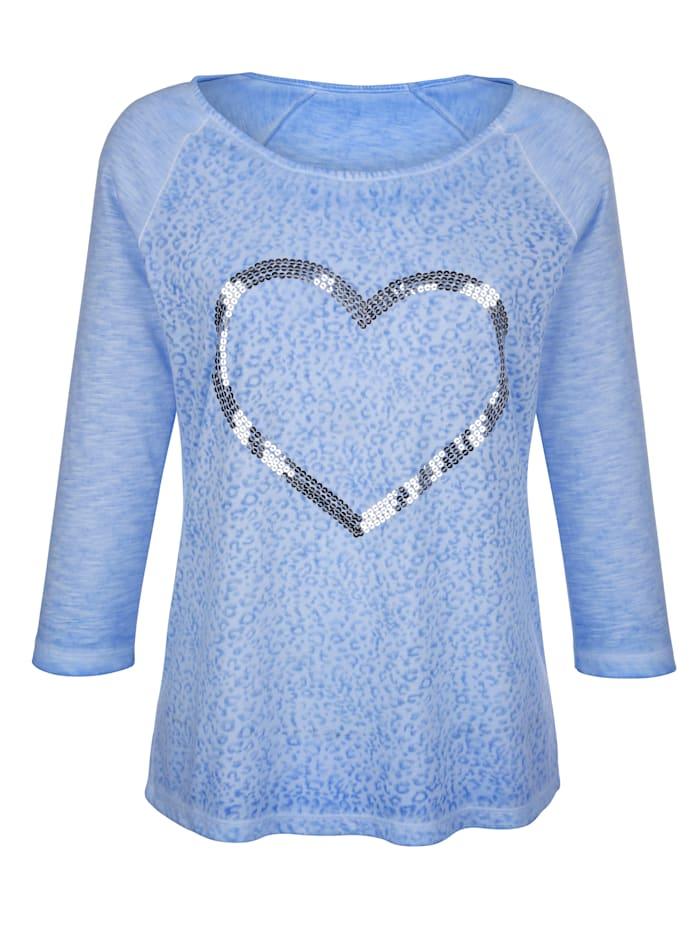T-shirt à motif cœur en paillettes
