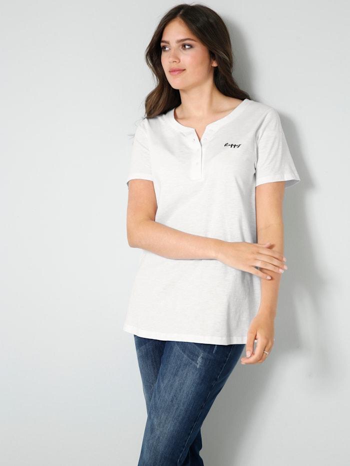 Janet & Joyce Shirt met klein geborduurd opschrift, Wit