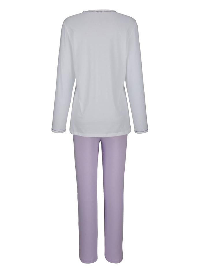 Pyjamas med uddkant i ringningen och i ärmsluten
