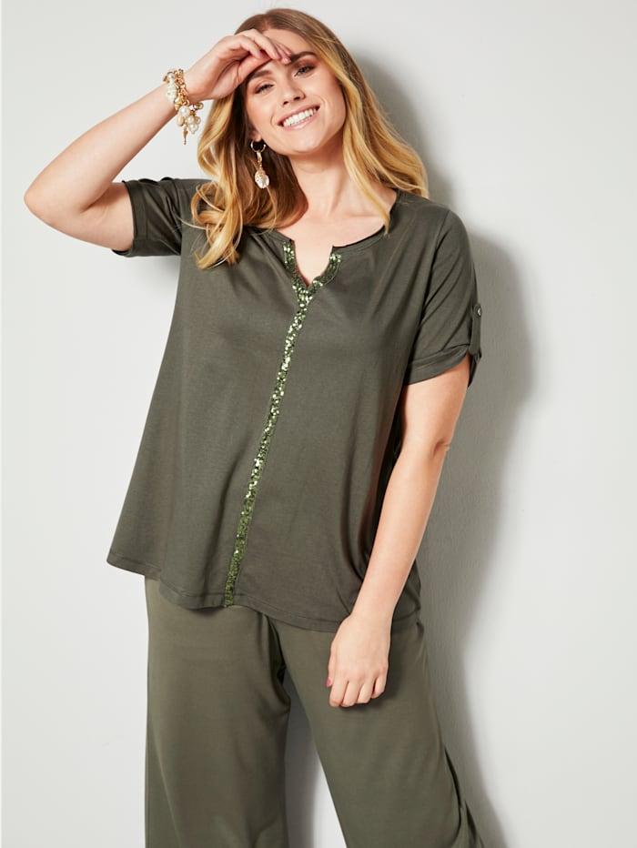 Sara Lindholm Shirt mit Pailletten, khaki