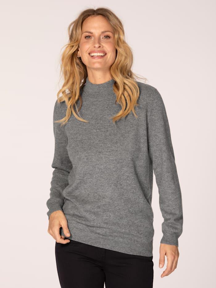 MONA Kaschmir-Pullover mit Stehkragen, Silbergrau