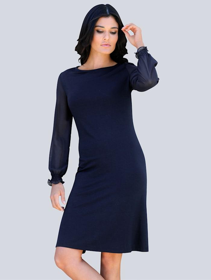 Alba Moda Džersej šaty s rukávmi z transparentného šifónu, Námornícka