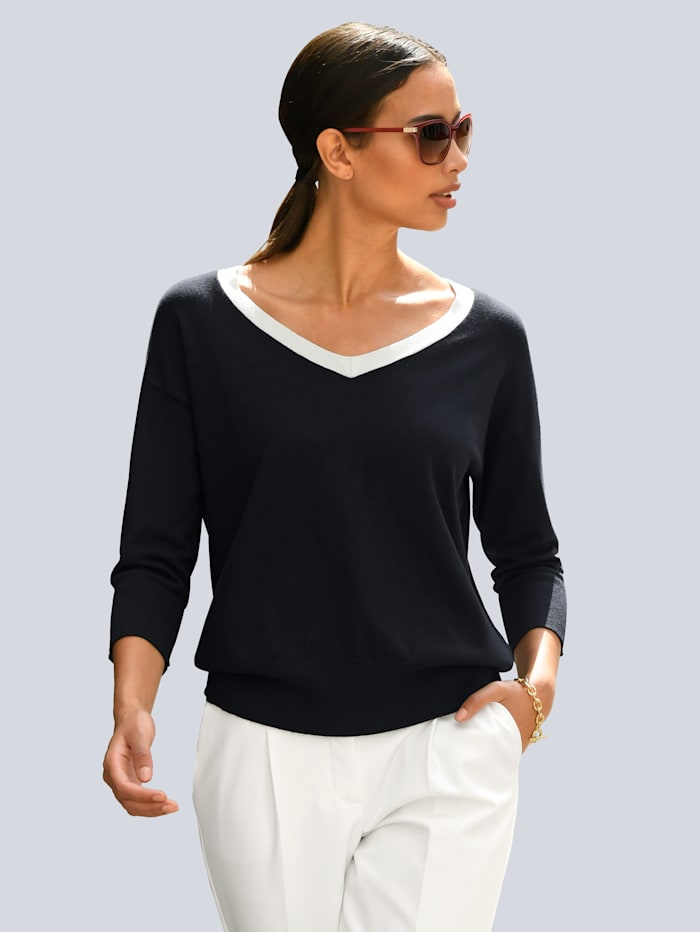 Alba Moda Pullover mit kontrastfarbigem Ausschnitt, Marineblau/Off-white