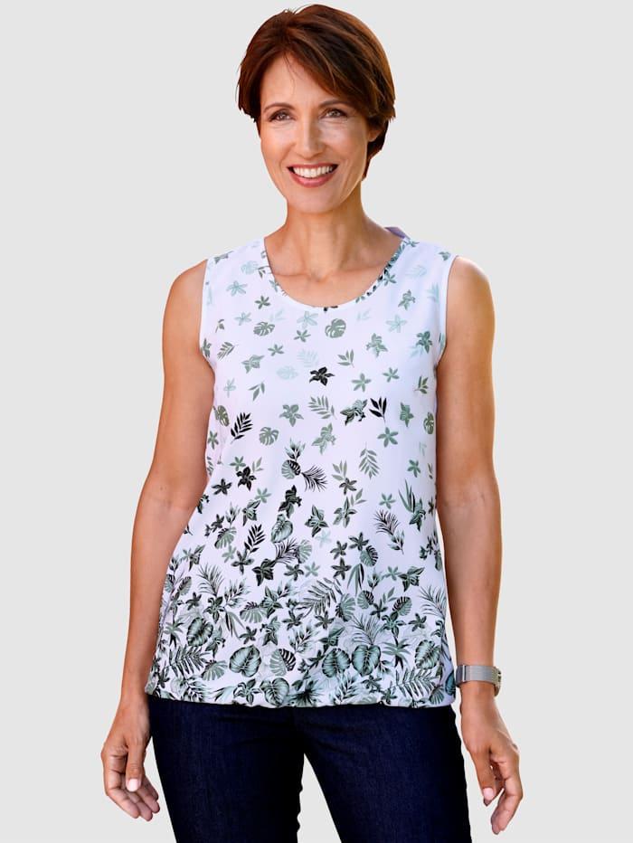 Paola Top s květinovým vzorem, Bílá/Zelená