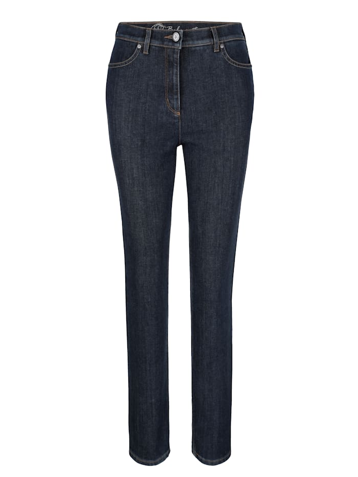 Thermal jeans with check turn-back hem