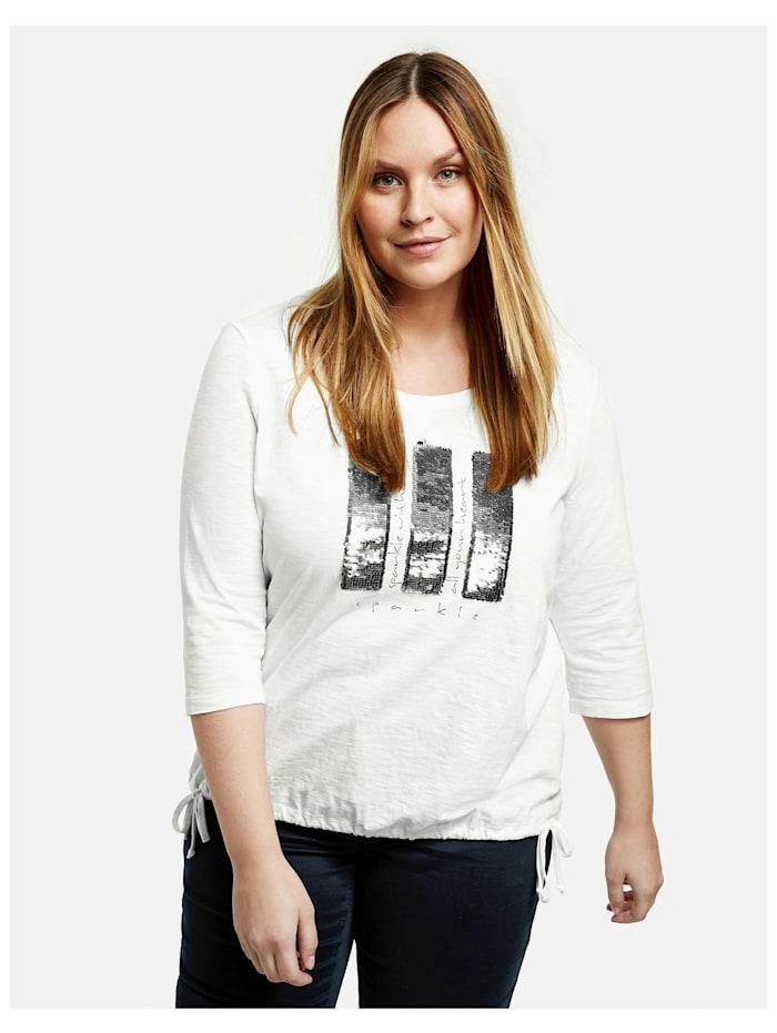 Samoon Shirt mit Pailletten aus GOTS zertifizierter Bio-Baumwolle, Offwhite gemustert