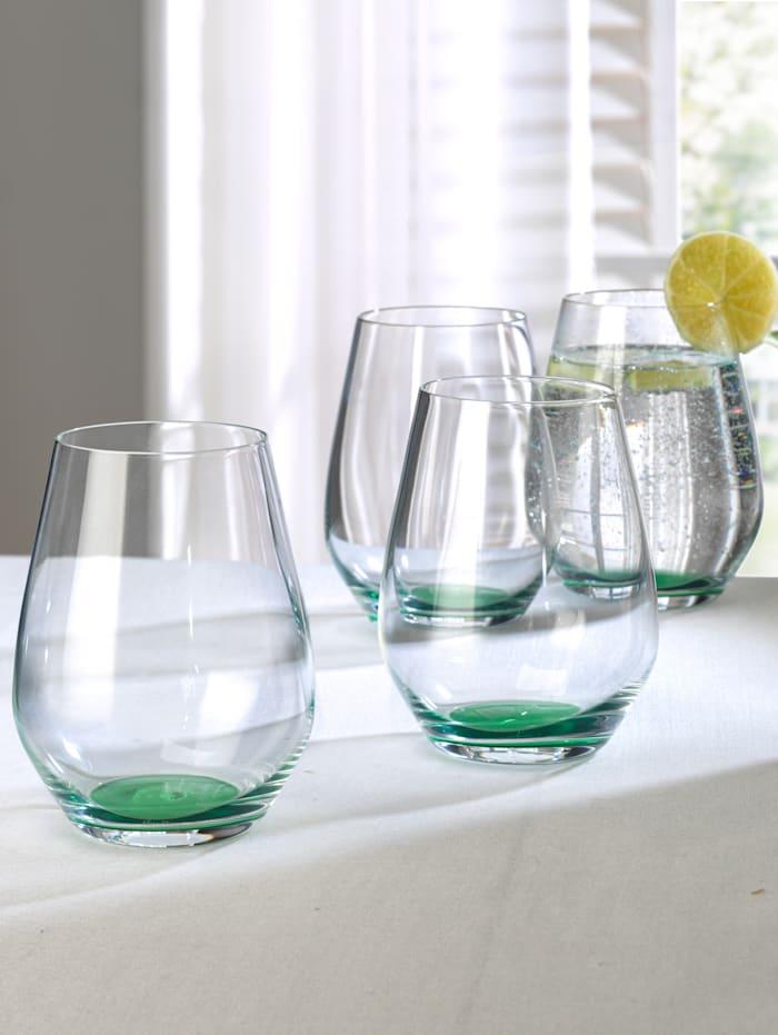 4 glas med färgad botten – Colourful Life, grön
