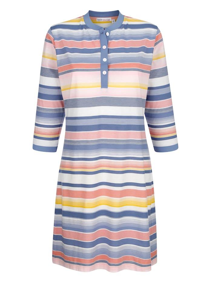 MONA Nachthemd met ingebreid streepdessin, Blauw/Zalm/Ecru